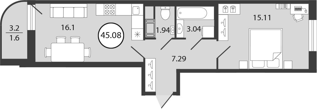2Е-комнатная, 45.08 м²– 2