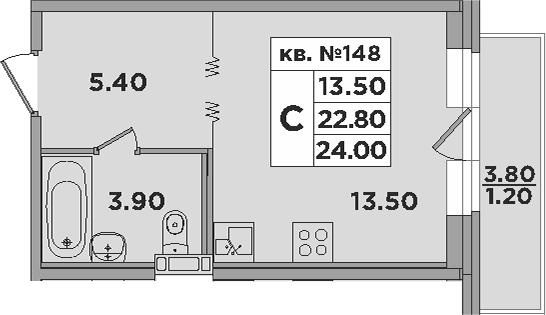 Студия, 26.8 м²