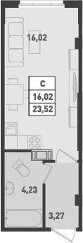 Студия, 23.52 м², 18 этаж