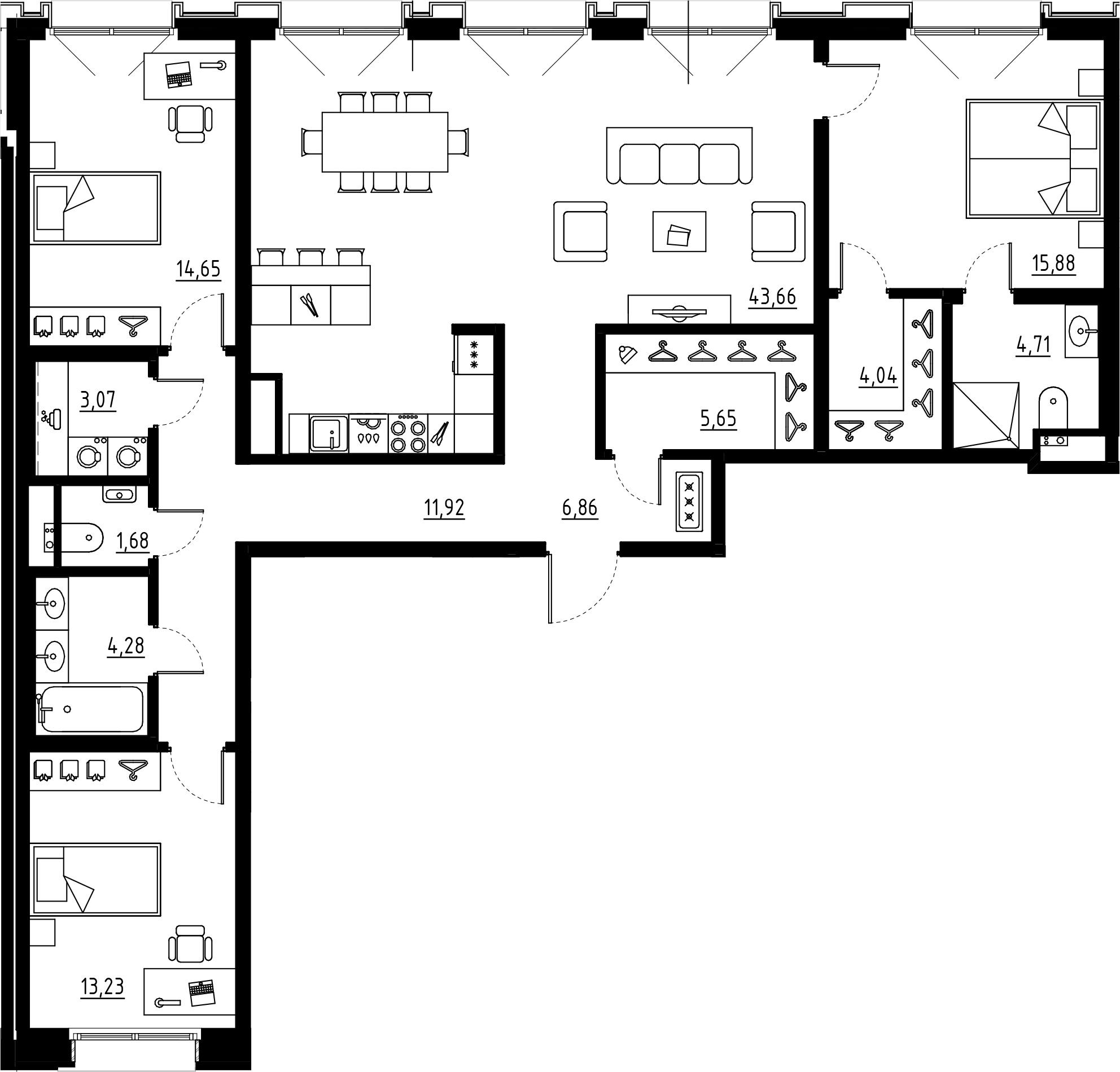 4Е-комнатная квартира, 129.63 м², 2 этаж – Планировка