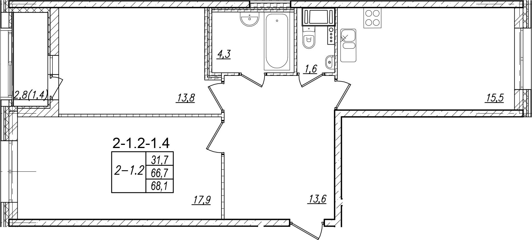 2-комнатная, 68.1 м²– 2