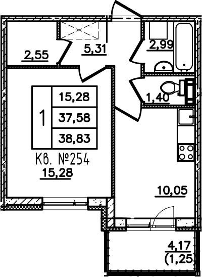 1-комнатная, 38.83 м²– 2