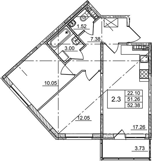 3Е-комнатная, 52.38 м²– 2