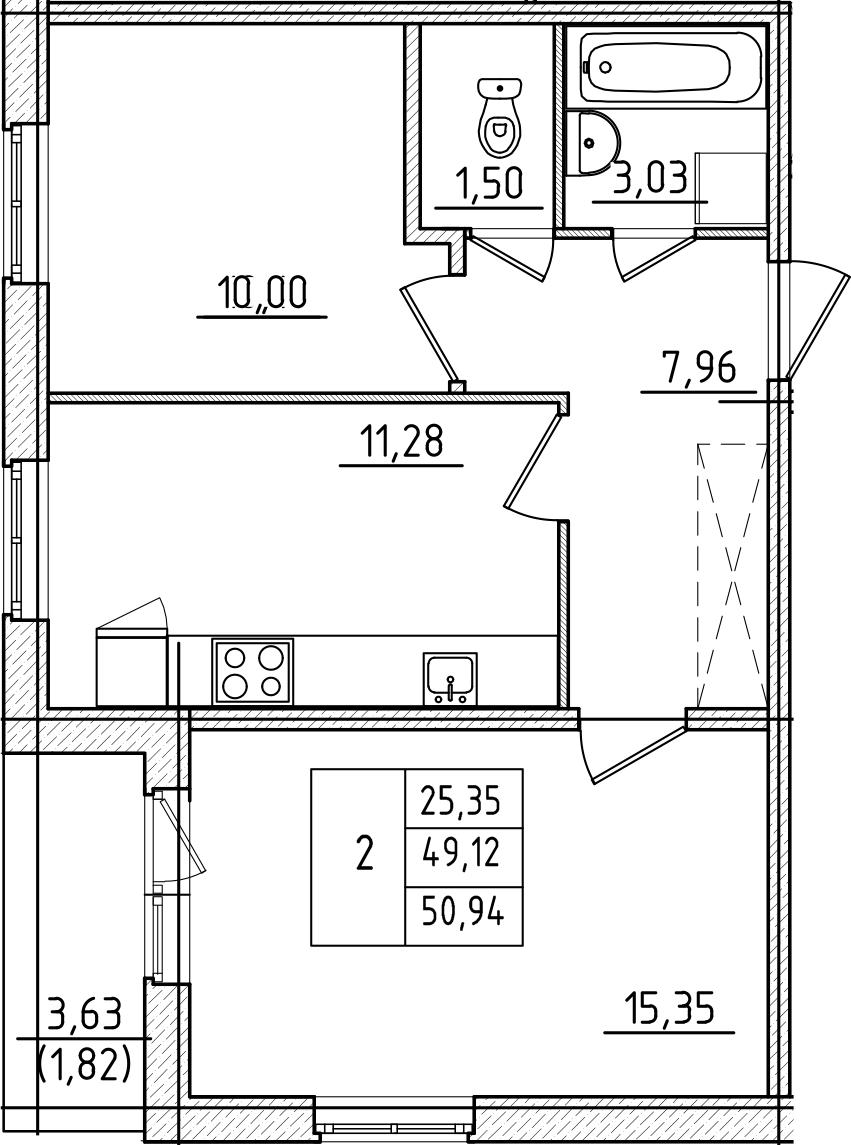 2-к.кв, 50.94 м², 1 этаж