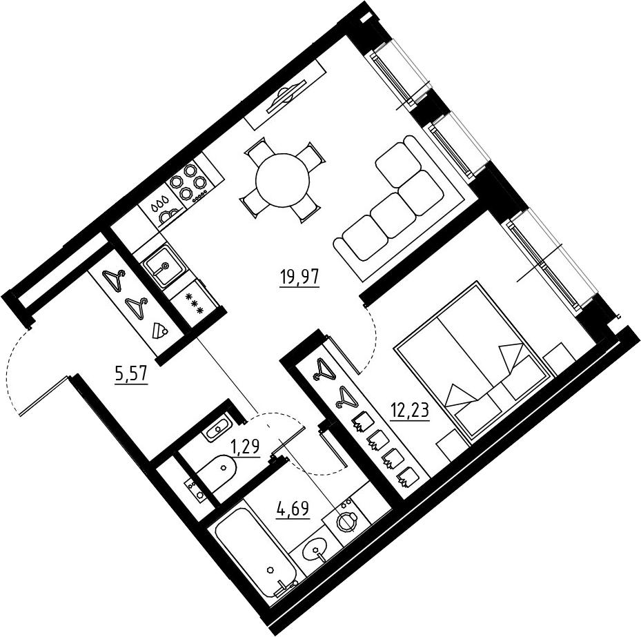 2Е-комнатная, 43.75 м²– 2