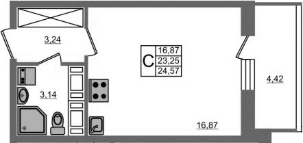 Студия, 23.25 м², 19 этаж