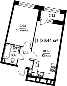 2Е-к.кв, 39.44 м², 3 этаж