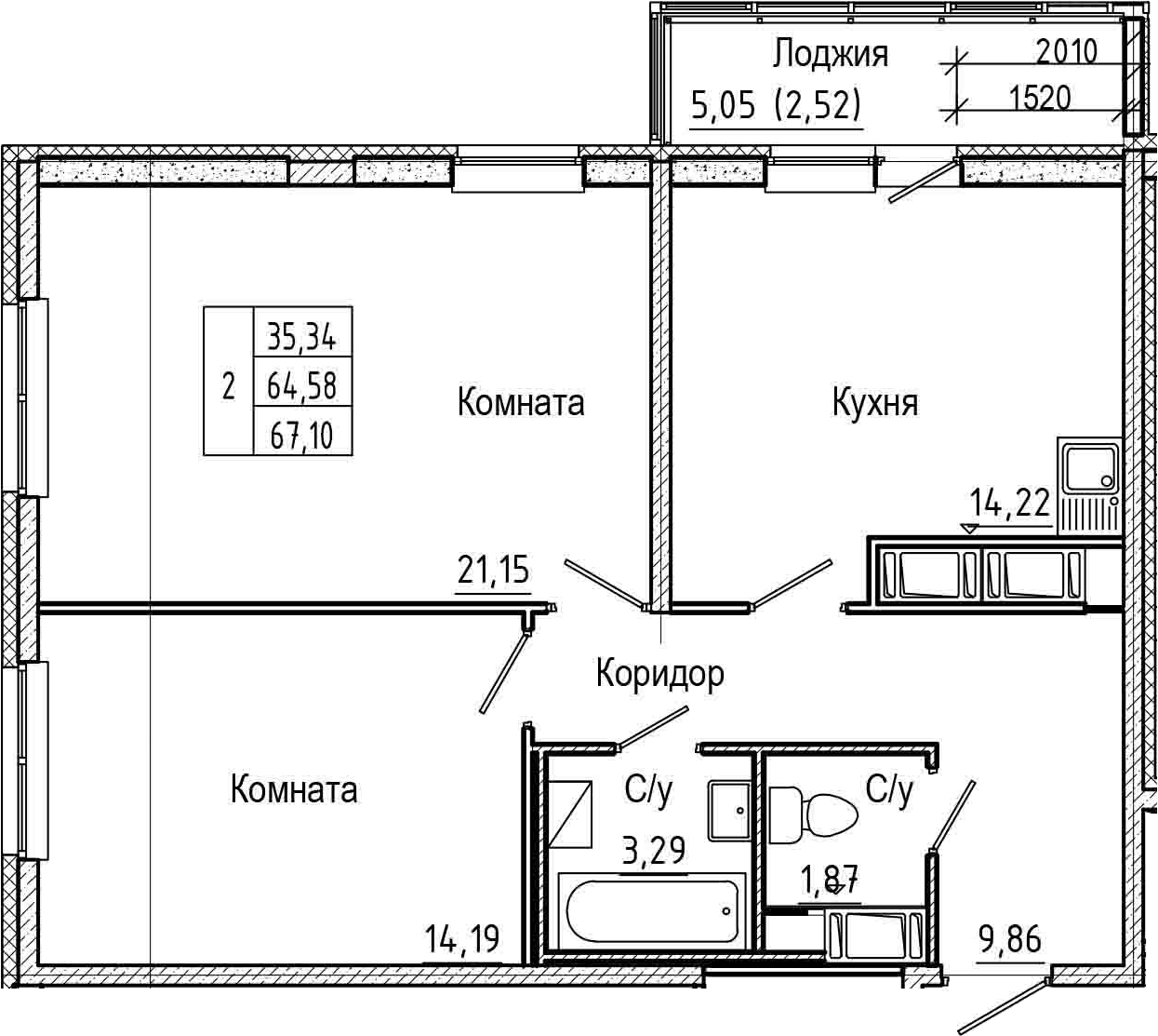 2-комнатная, 67.1 м²– 2