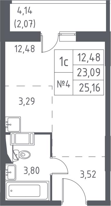 Студия, 25.16 м², от 11 этажа