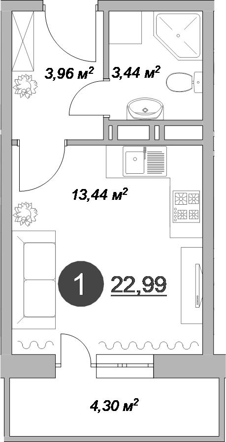 Студия, 22.99 м²– 2