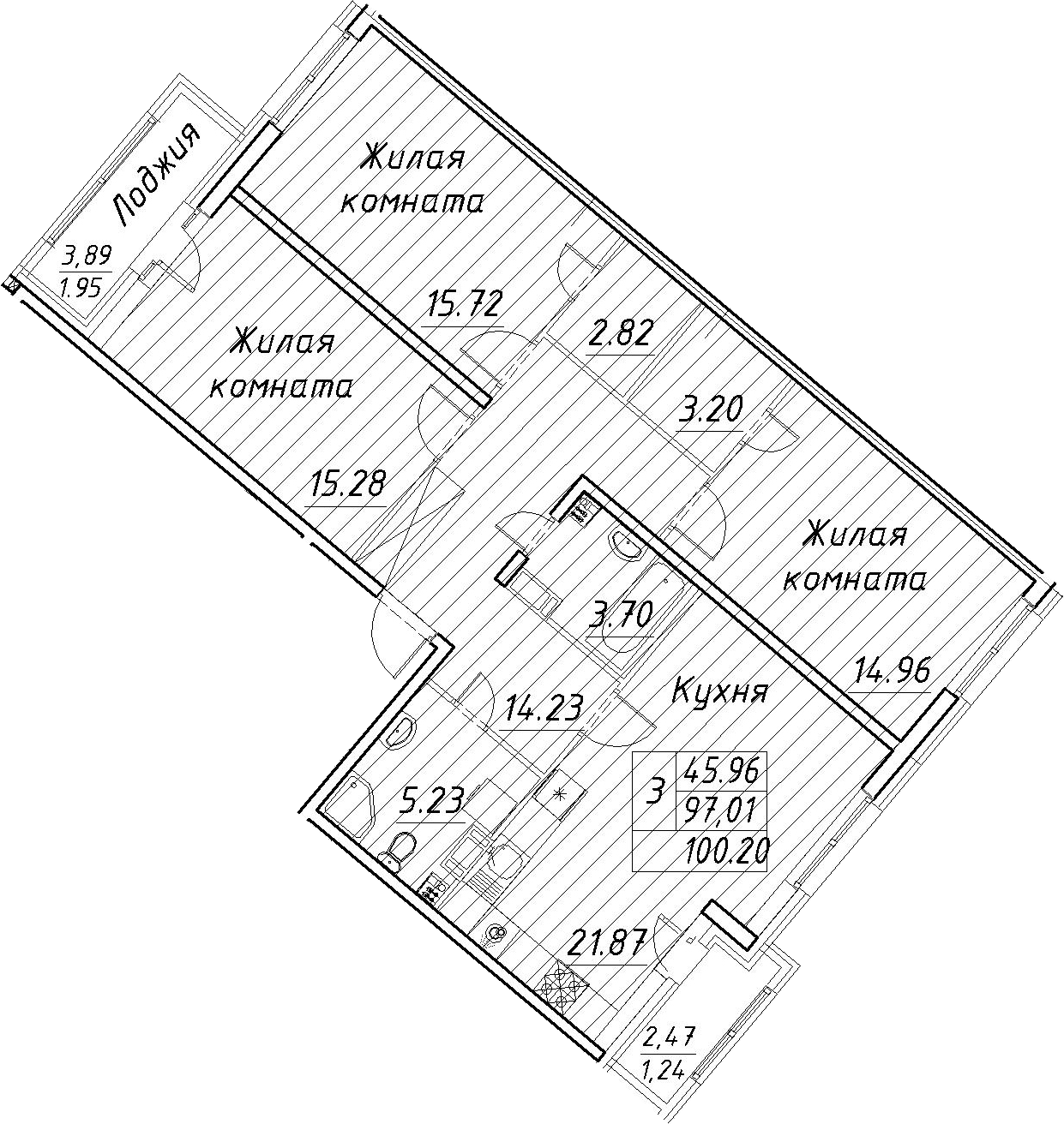 4Е-к.кв, 100.2 м², от 4 этажа