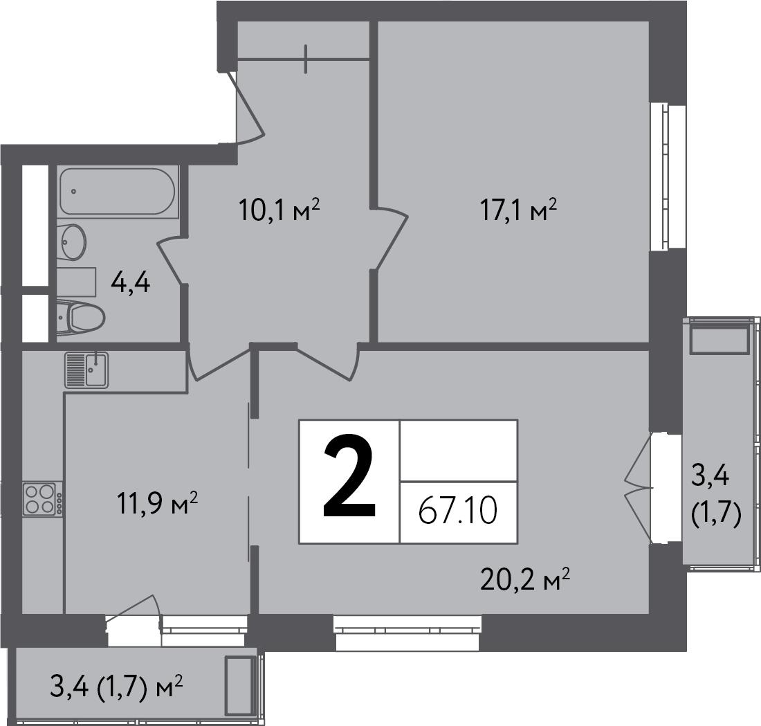 2-к.кв, 70.5 м²