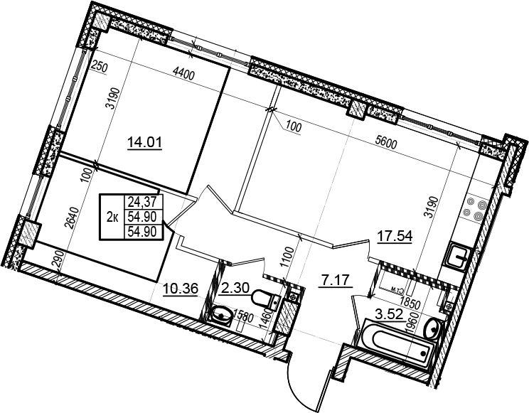 3Е-комнатная, 54.9 м²– 2