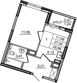 1-к.кв, 28.86 м², от 3 этажа