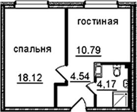 1-к.кв, 37.62 м²