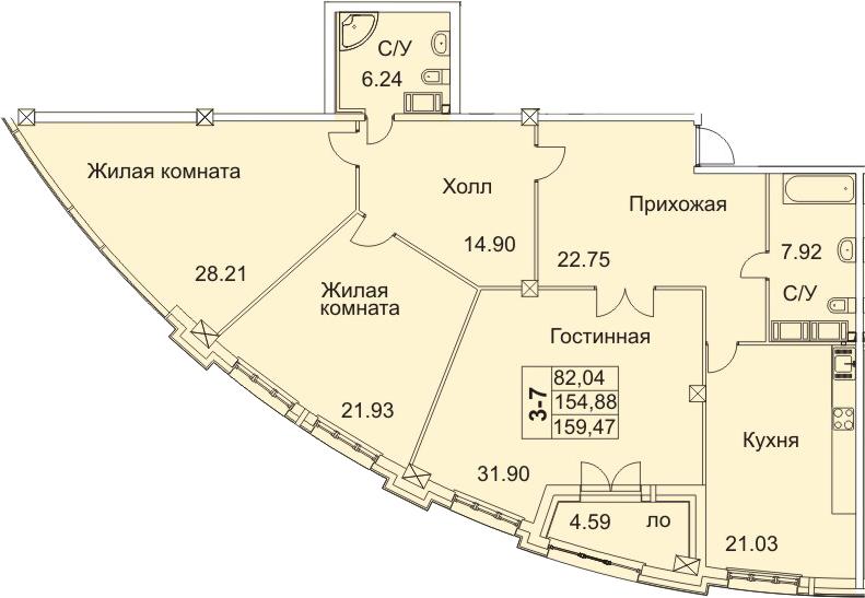 4-к.кв (евро), 164.06 м²