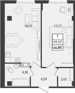 1-к.кв, 46.8 м², от 3 этажа