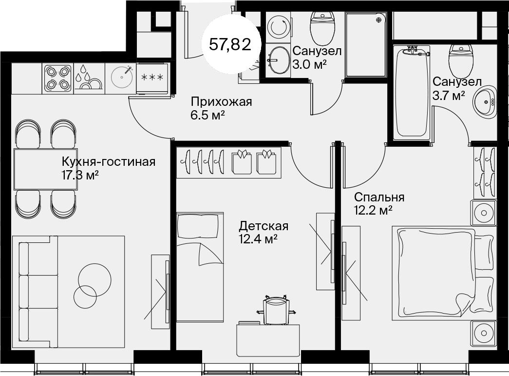 3Е-к.кв, 57.82 м²