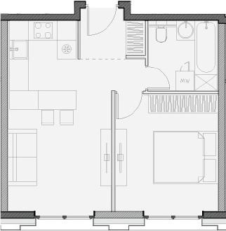 Свободная планировка, 39.6 м²– 2