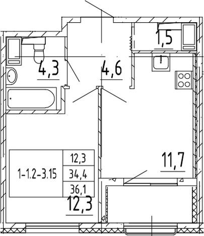 1-к.кв, 36.1 м², от 3 этажа