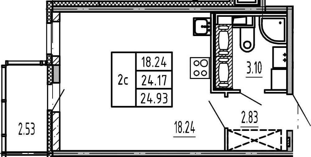 Студия, 24.17 м², 24 этаж