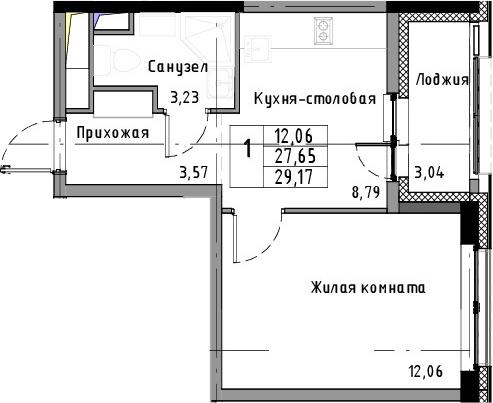 1-к.кв, 29.17 м²