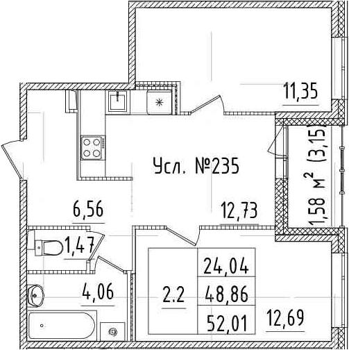 3-к.кв (евро), 52.01 м²