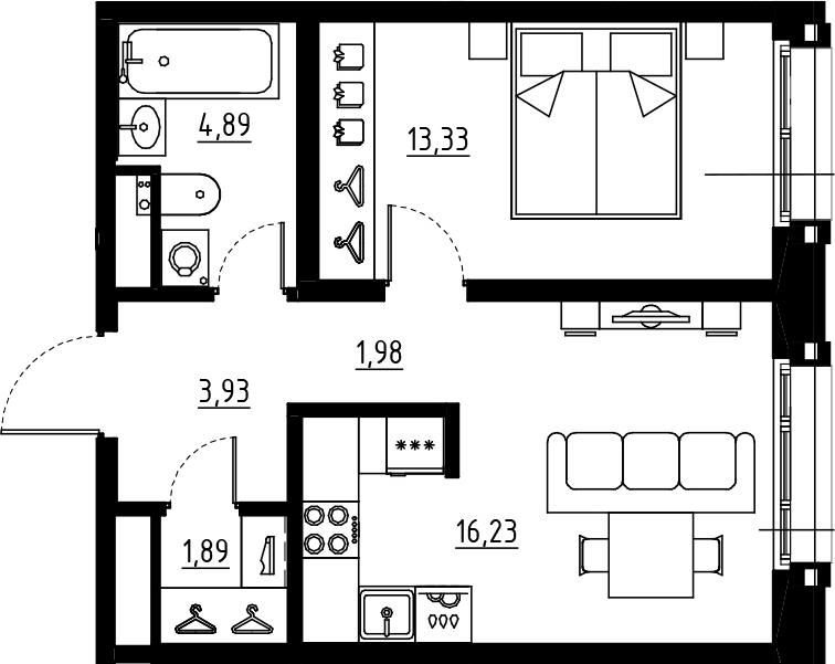 2Е-к.кв, 42.25 м², от 3 этажа