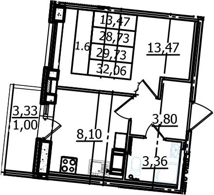 1-к.кв, 28.73 м²