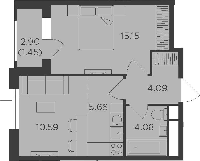 2Е-комнатная, 41.02 м²– 2