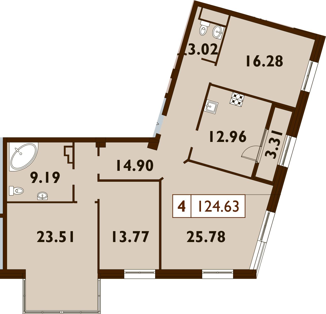 4-к.кв, 124.63 м²