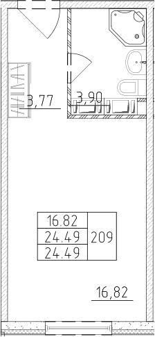 Студия, 24.49 м², от 13 этажа