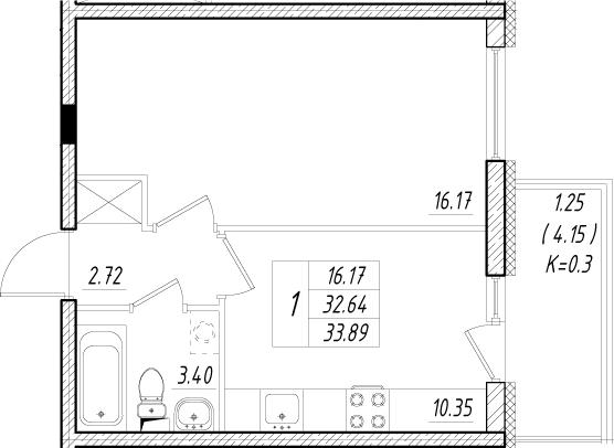 1-к.кв, 36.79 м²