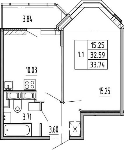 1-комнатная, 32 м²– 2