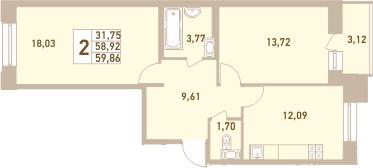 2-комнатная, 59.86 м²– 2