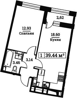 2Е-к.кв, 39.44 м², от 3 этажа