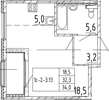 Студия, 34 м², 2 этаж