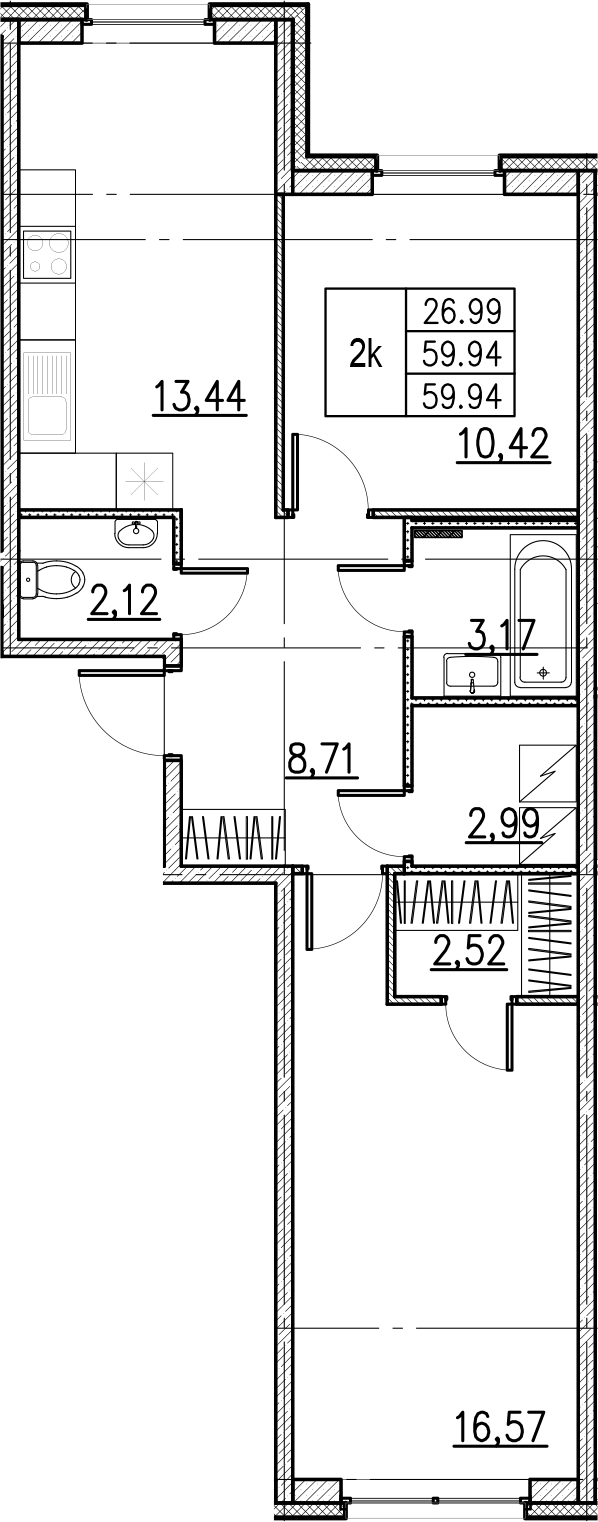 2-комнатная, 59.94 м²– 2