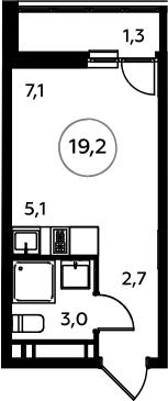 Студия, 19.2 м²– 2