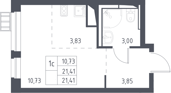 Студия, 21.41 м²– 2