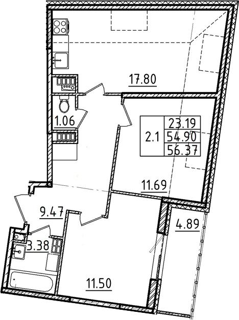3Е-комнатная, 56.37 м²– 2