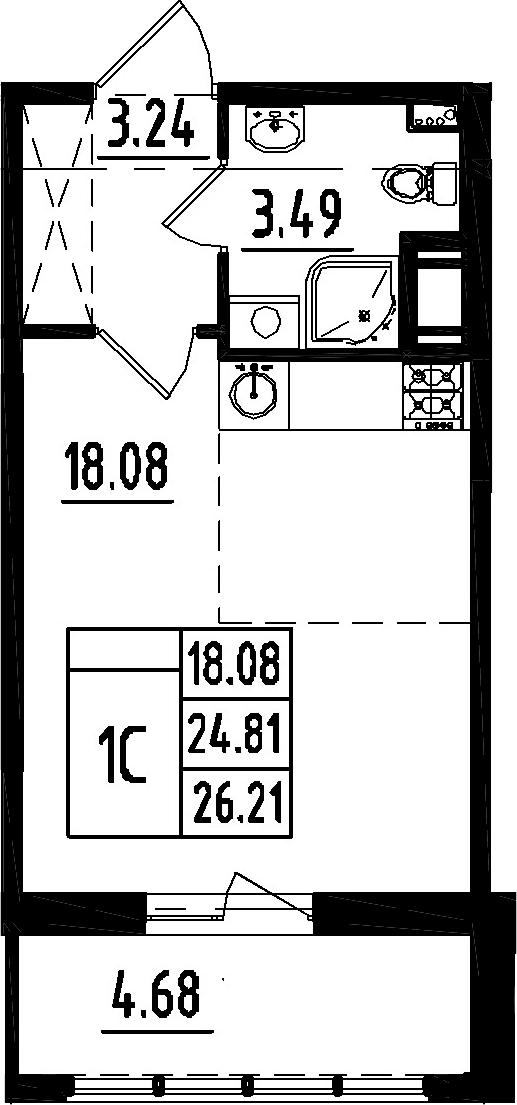 Студия, 24.81 м², 8 этаж