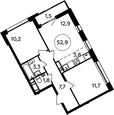 3Е-к.кв, 52.9 м², 12 этаж