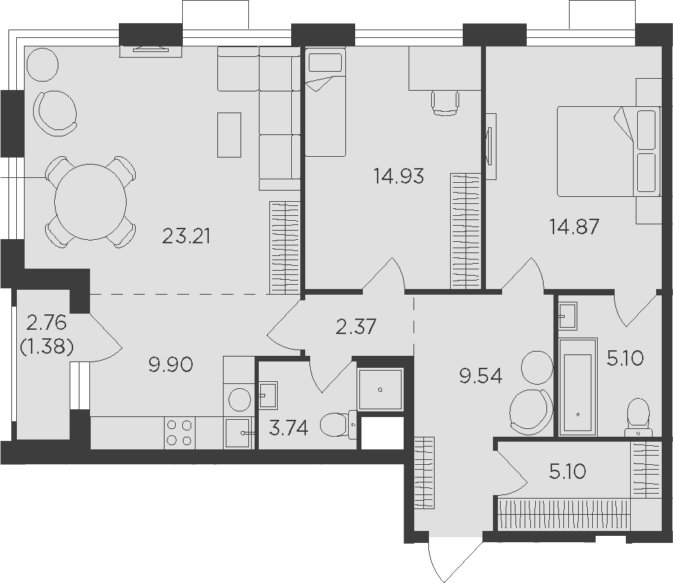 3Е-комнатная, 90.14 м²– 2