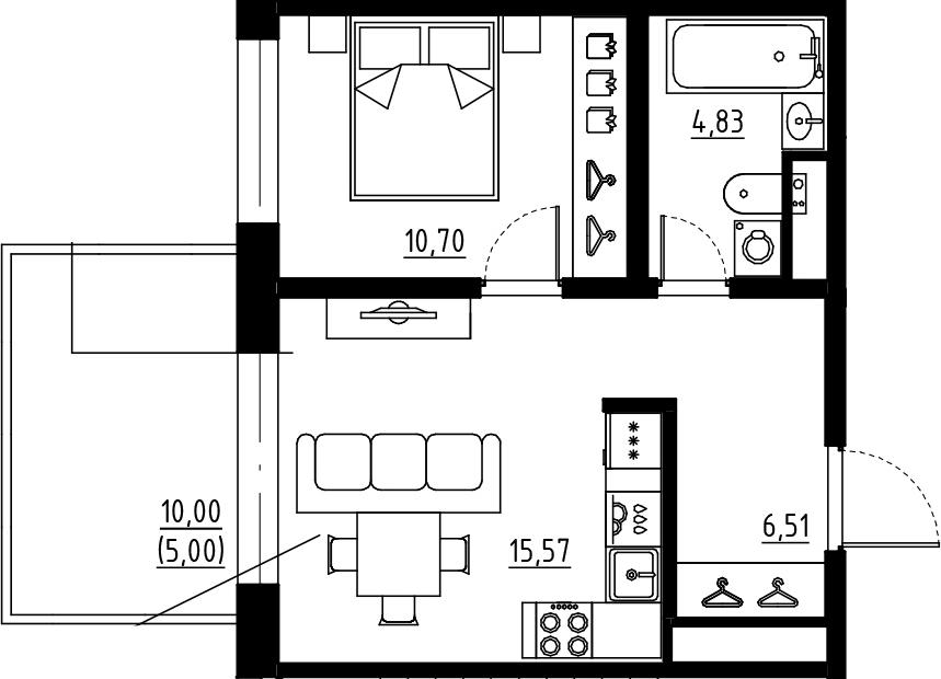 2Е-комнатная, 37.61 м²– 2