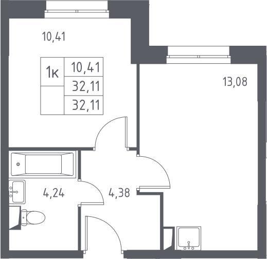 1-к.кв, 32.11 м²