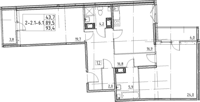 3Е-комнатная, 93.4 м²– 2