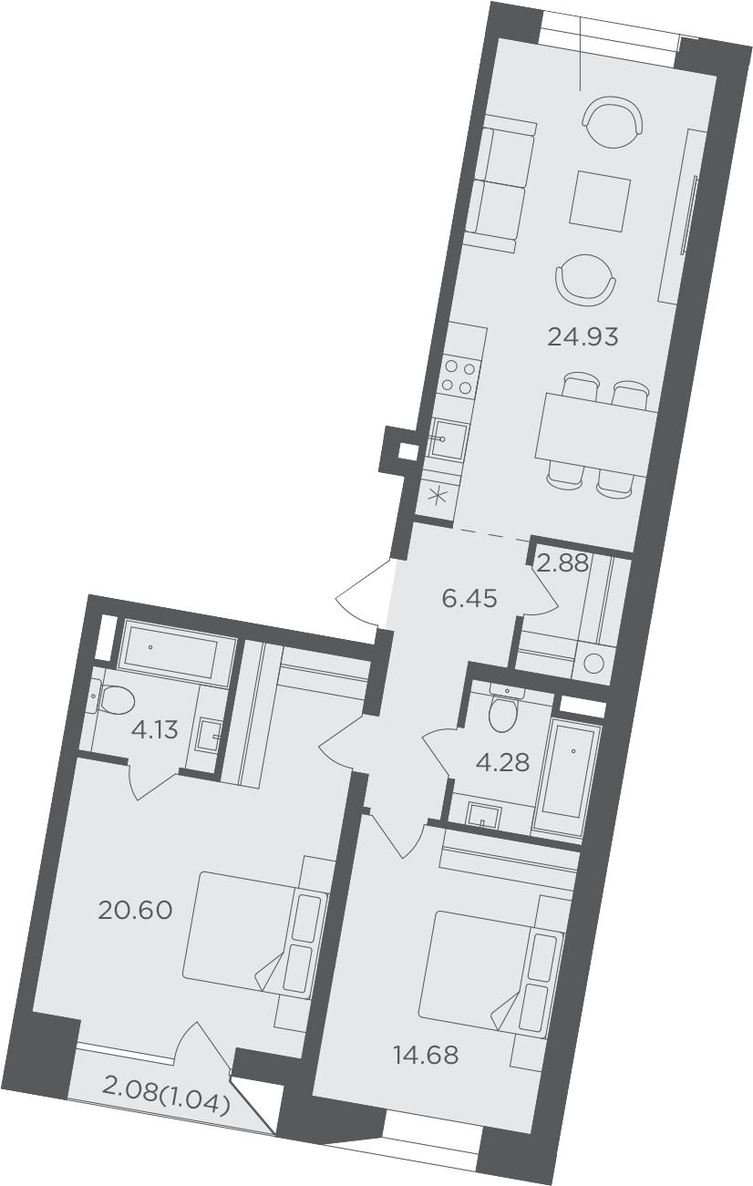 2-комнатная, 78.99 м²– 2