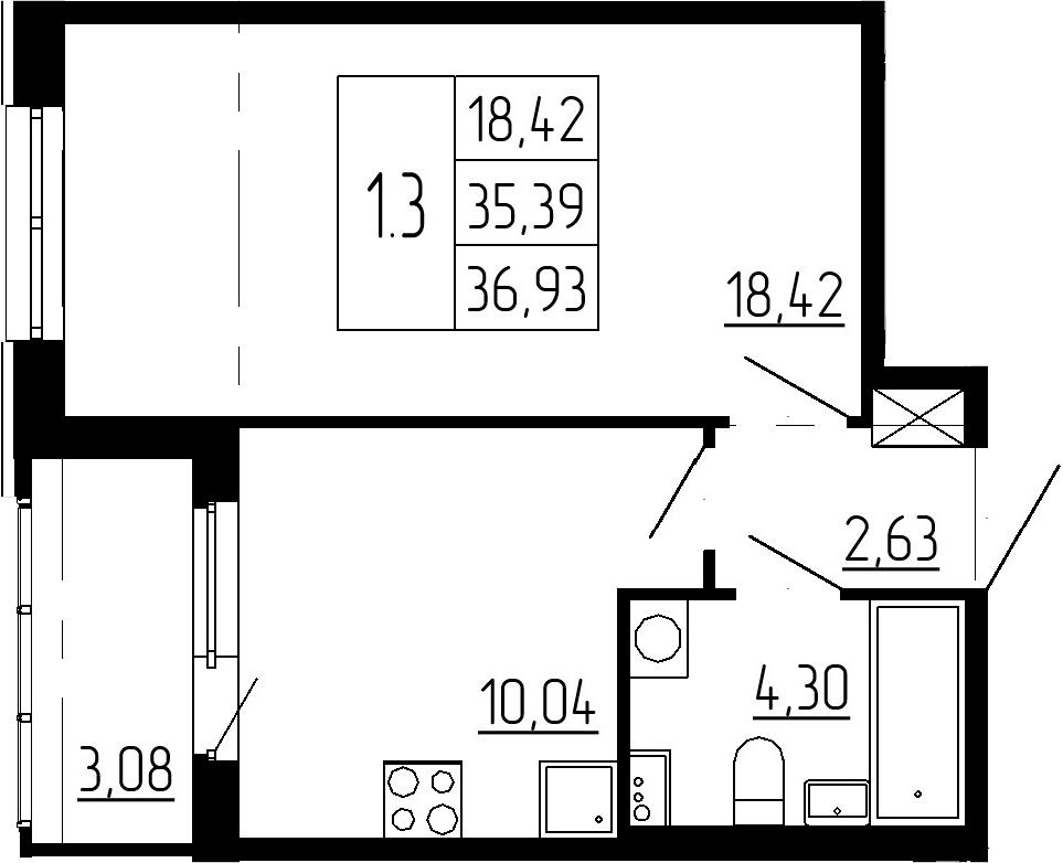 1-к.кв, 38.47 м²