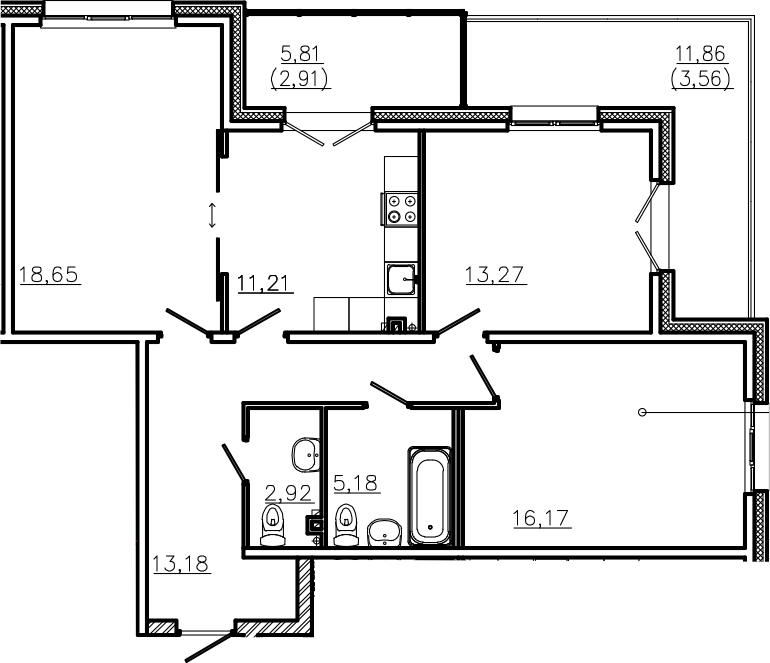 3-к.кв, 98.27 м²
